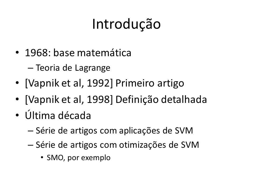 Introdução 1968: base matemática [Vapnik et al, 1992] Primeiro artigo